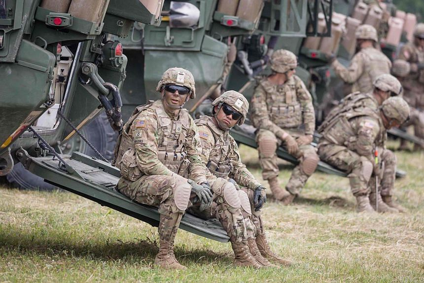 File photo showing American soldiers participating in NATO military exercises in Orzysz, Poland, on June 16, 2017.