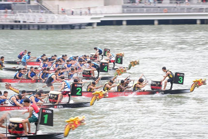 Inter School Group A Boys finals during the DBS Marina Regatta 2018 at the The Promonotry@Marina Bay, on June 2, 2018.
