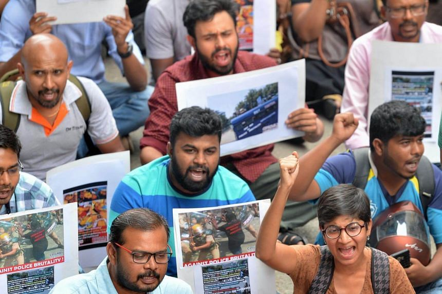 Indian activists protesting against Sterlite Industries, a subsidiary of Vendanta, in Bangalore on May 24, 2018.