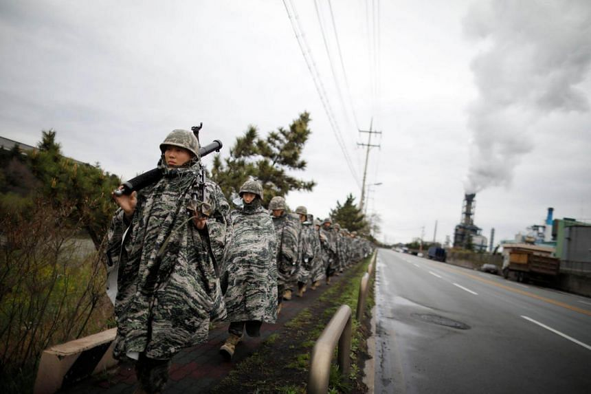South Korean marines marching during an exercise as part of the Foal Eagle joint training with the US in Pohang, on April 5, 2018.