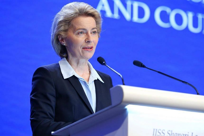 Germany's Federal Minister of Defence Ursula von der Leyen speaking during the fourth plenary session at the 17th Asian Security Summit of the IISS Shangri-La Dialogue, on June 3, 2018.
