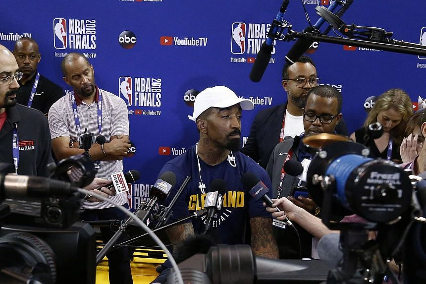 Cleveland Cavaliers guard J.R. Smith speaking to reporters during a practice session in Oakland, California, on June 2, 2018.