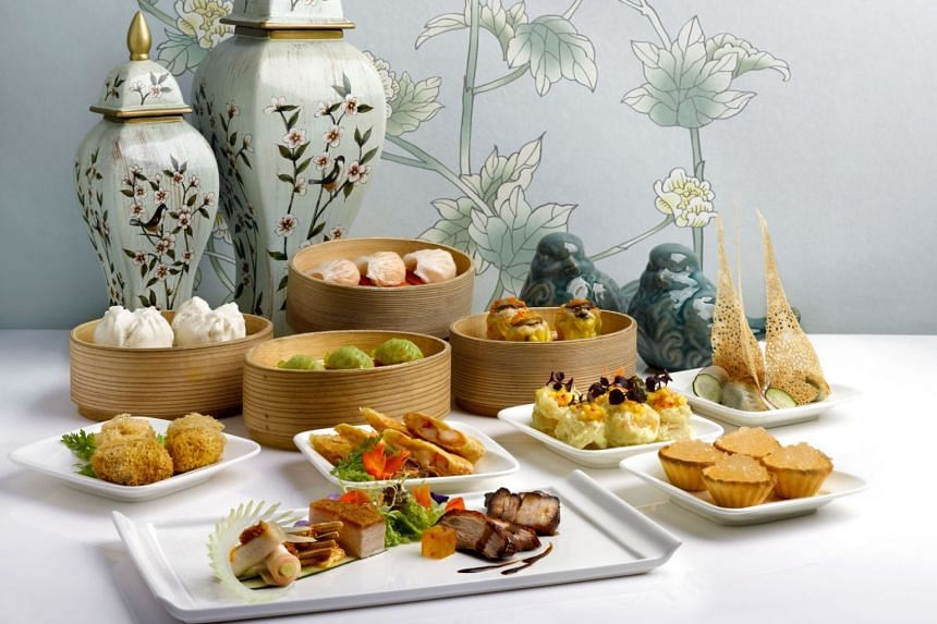 A selection of dishes from Cantonese restaurant Jade located at 1 Fullerton Square.