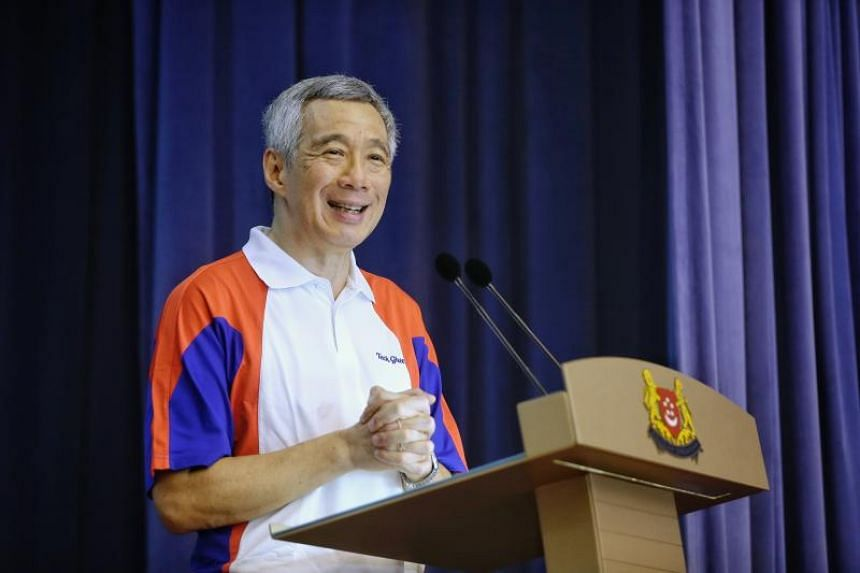 Prime Minister Lee Hsien Loong speaking during a parenthood celebration event in Cheng San Community Club on May 27, 2018.