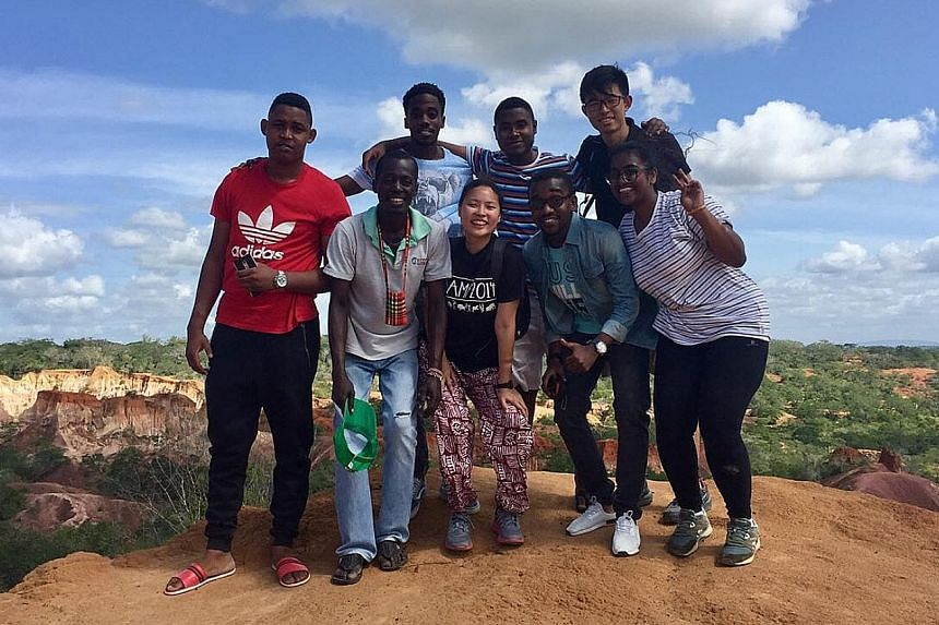 Ms Janice Chiang with some Kenyan and Singaporean interns during her time with Coastal Bamboo & Coir Development Company.