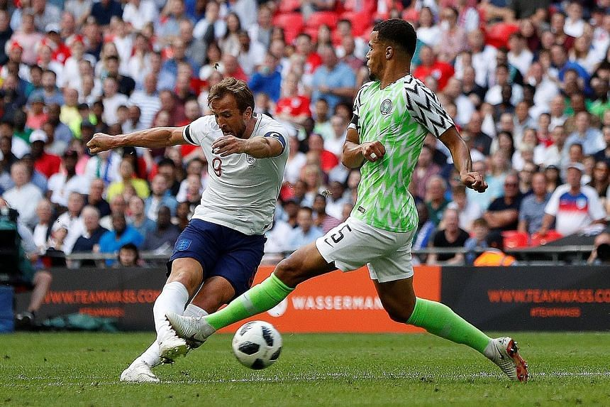 England captain Harry Kane scoring the second goal in their 2-1 friendly win over Nigeria on Saturday. The Three Lions will play their final pre-World Cup friendly against Costa Rica on Thursday.