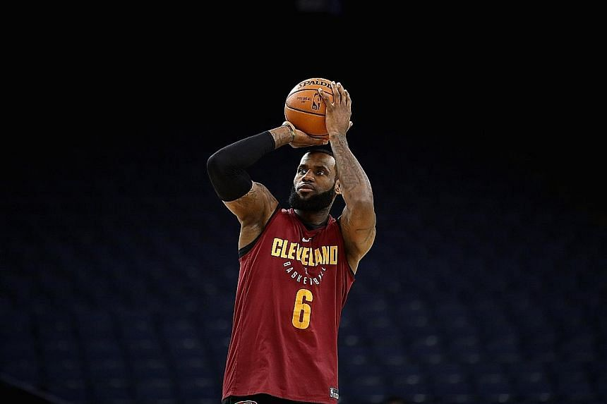 LeBron James shooting during practice at the Oracle Arena, home court of the Golden State Warriors. Having scored 51 points in a losing cause in Game 1, the Cavaliers forward is raring to go against the Warriors again.