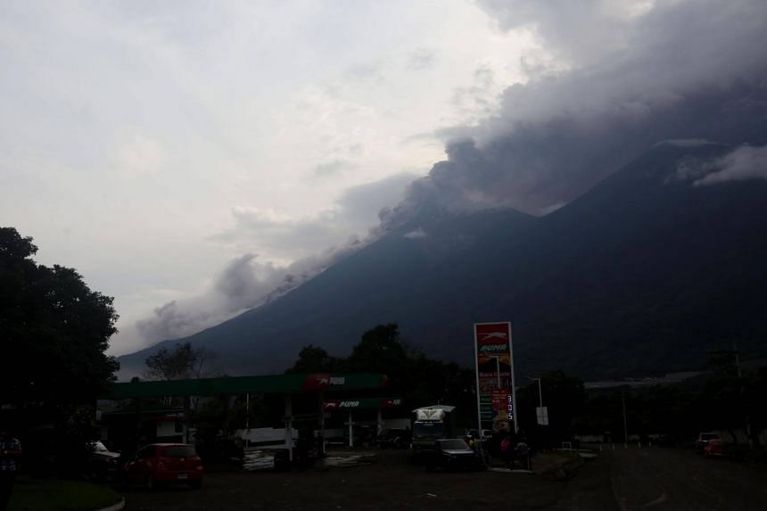 Guatemala's Fuego volcano erupted violently, spewing a stream of red hot lava and belching a thick plume of black smoke and ash that rained onto the capital and other regions.