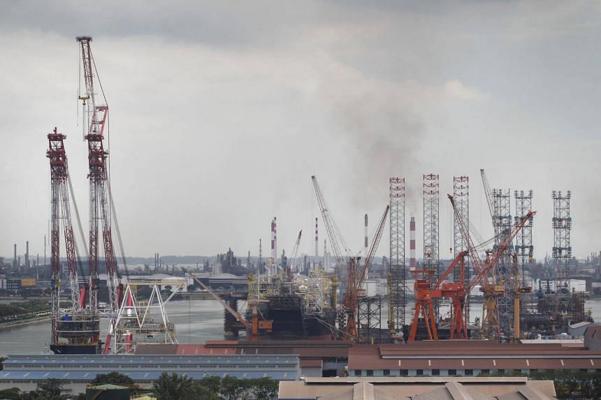 File photo showing oil rigs and other structures at Jurong Shipyard in 2013. The shipyard was convicted of failing to take reasonably practicable measures to ensure the safety of workers at its 5 Jalan Samulun site.
