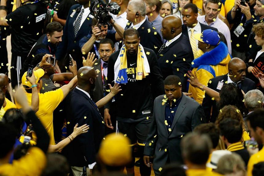 Kevin Durant of the Golden State Warriors leaves the floor after they defeated the Cleveland Cavaliers in Game 2 of the 2018 NBA Finals at Oracle Arena in Oakland, California, on June 3, 2018.