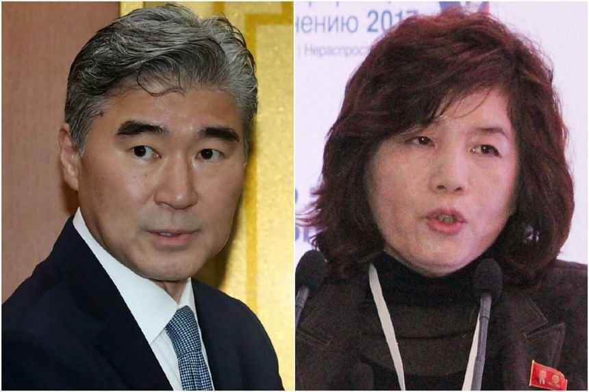 Sung Kim (left), US ambassador to the Philippines and former nuclear envoy, is leading the US delegation while North Korea's team is headed by its Vice Foreign Minister Choe Son Hui.
