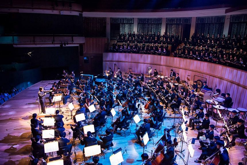 The Orchestra of the Music Makers performing at the Esplanade Concert Hall.