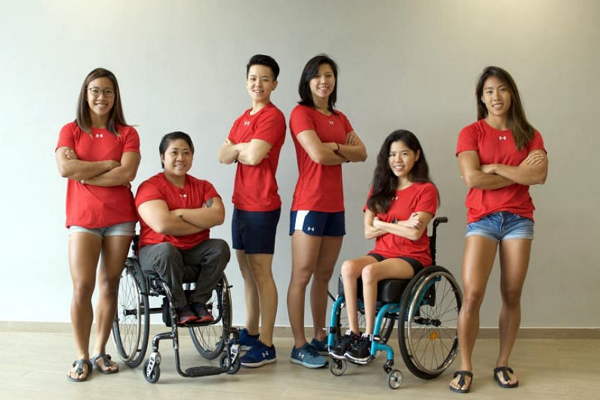 National athletes (From left) Stephenie Chen, Theresa Goh, Shayna Ng, Amanda Lim, Yip Pin Xiu and Sarah Chen have formed an initiative called Heartwork to help the less privileged in Singapore.