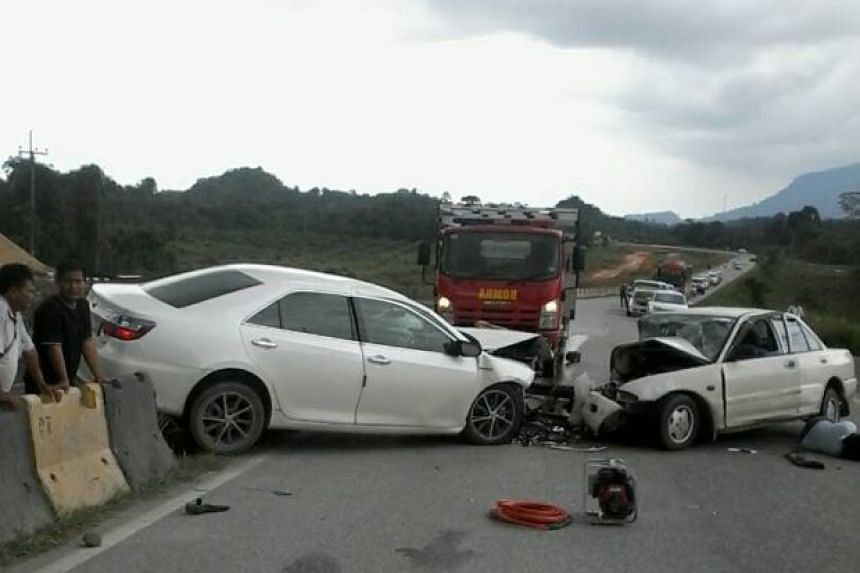 The driver of a Proton Wira was said to have lost control of the vehicle at a bend before the accident.