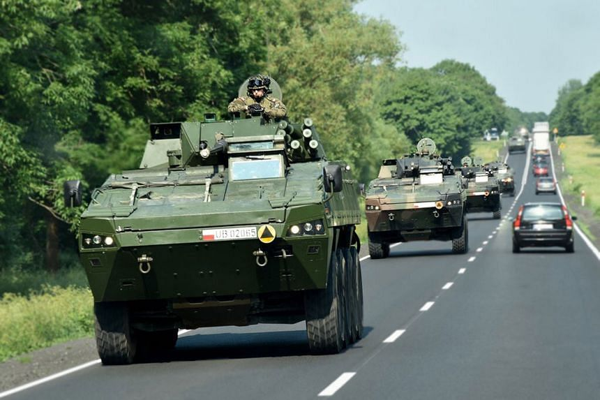 Polish tanks on their way to take part in the US-led Saber Strike exercises. The manoeuvres will run until June 15.