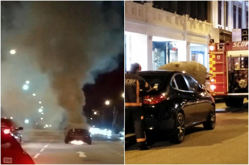 An Alfa Romeo car (left) caught fire at the junction of Upper Serangoon Road and Hougang Avenue 4, while a private-hire car caught fire in a separate incident in Bugis on June 3, 2018.