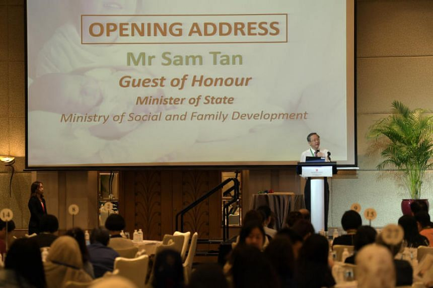 Minister of State for Social and Family Development Sam Tan speaking at the Integrated Child Health and Social Congress on June 4, 2018.