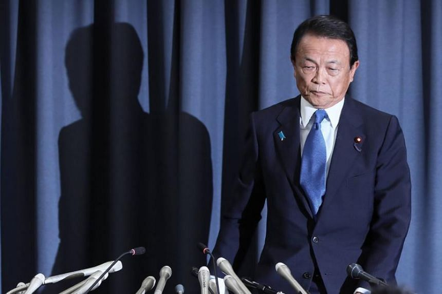 Japan's Finance Minister Taro Aso at a press conference in Tokyo on June 4, 2018.