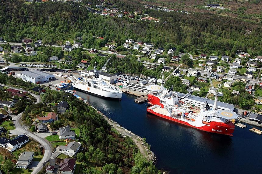 """Vard Holdings' shipbuilding facilities at the Brattvaag yard in Norway. The company widened its operating loss as its Ebitda margin before restructuring cost decreased from 2.3 per cent in the year-ago quarter, to """"nil"""" in the fiscal first quarter of"""