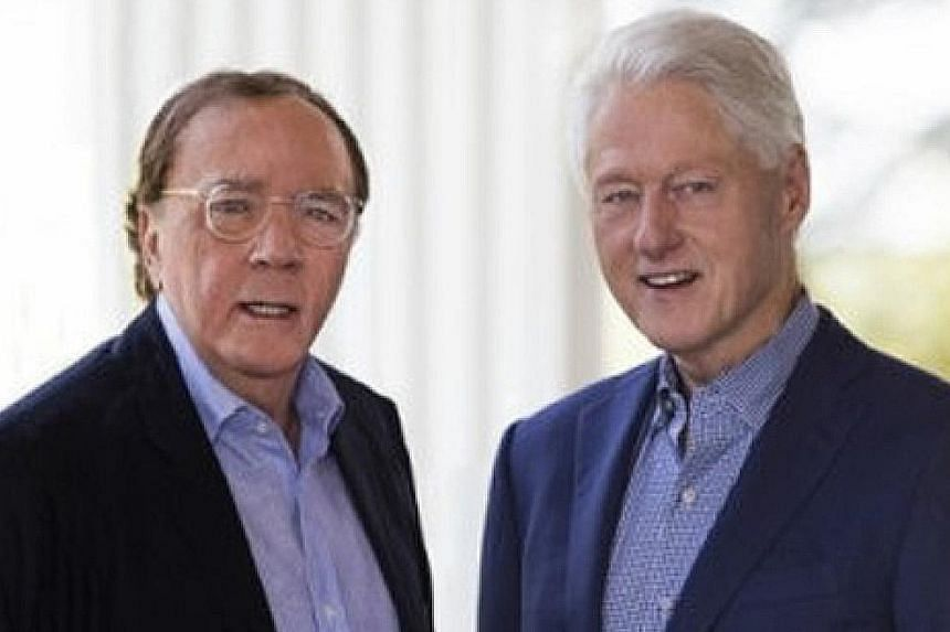 Thriller author James Patterson (left) and former US president Bill Clinton (right) take jabs at the current administration in The President Is Missing.