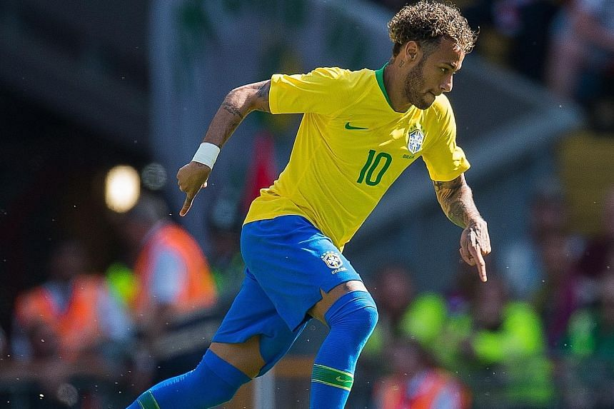 Brazil's Neymar is all poise and focus during the friendly against Croatia at Anfield on Sunday. He scored the opening goal in his side's 2-0 victory after coming on as a substitute, more than three months since injuring his right ankle in February.