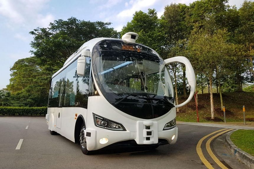 One of the two electric-powered driverless 22-seater mini buses to be trialled on Sentosa.
