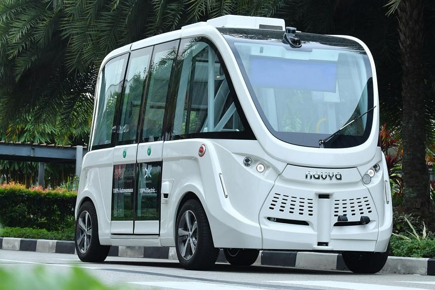 One of two electric 15-seater driverless shuttles to be trialled on Sentosa.