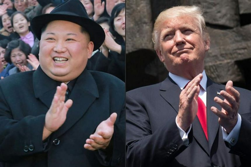This combination photo shows North Korean leader Kim Jong Un visiting the newly-renovated Pyongyang Teachers' University and US President Donald Trump applauding as he stands in front of the Warsaw Uprising Monument on Krasinski Square.