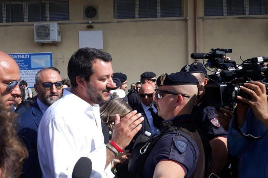 Italy's Minister of the Interior Matteo Salvini visits the migration hotspot in Pozzallo, Ragusa district, Italy, on June 3, 2018.