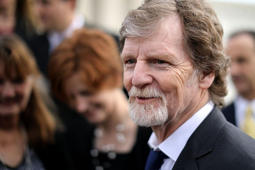 Conservative Christian baker Jack Phillips talks with journalists in front of the Supreme Court on Dec 4, 2018.