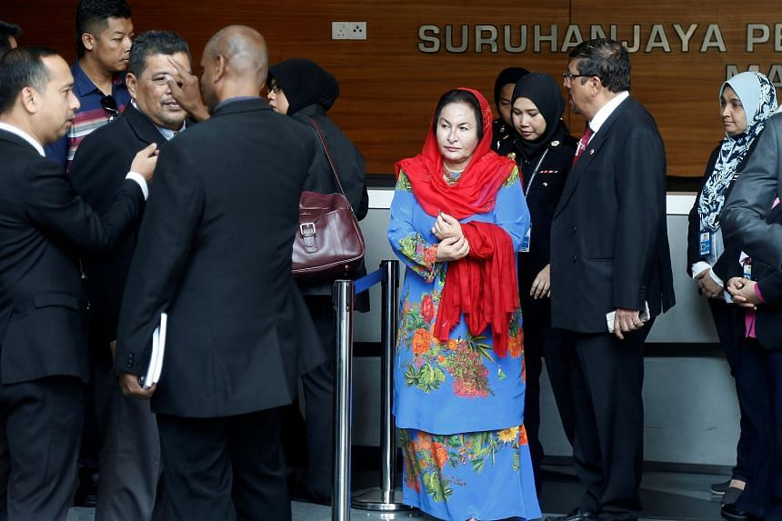 Madam Rosmah Mansor, wife of former Malaysian prime minister Najib Razak, arriving to give a statement to the Malaysian Anti-Corruption Commission in Putrajaya on June 5, 2018.