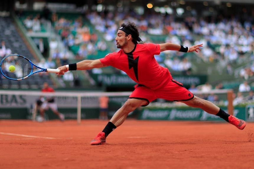 Italy's Fabio Fognini in action during his fourth round match against Croatia's Marin Cilic during the French Open in Paris, France, on June 4, 2018.