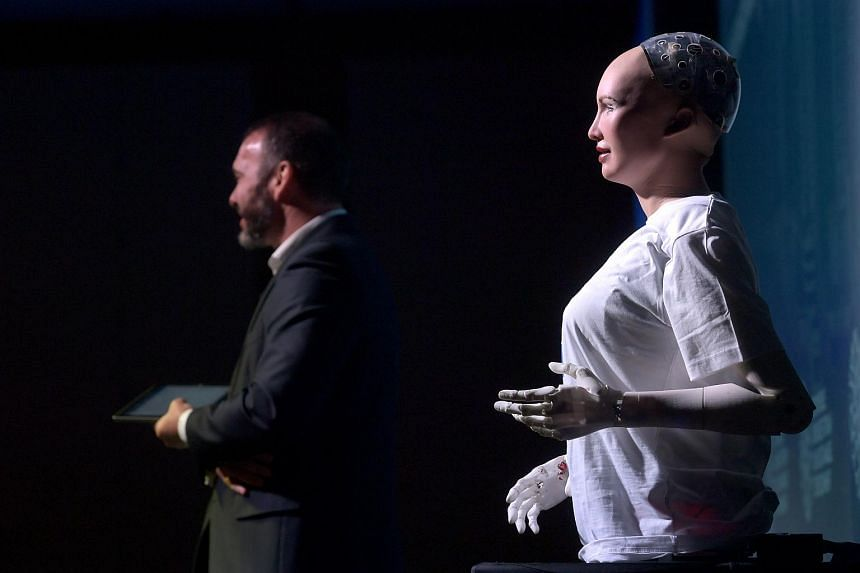 File photo showing a United Nations robot being introduced to an audience at the Sands Expo and Convention Centre on Nov 22, 2017.