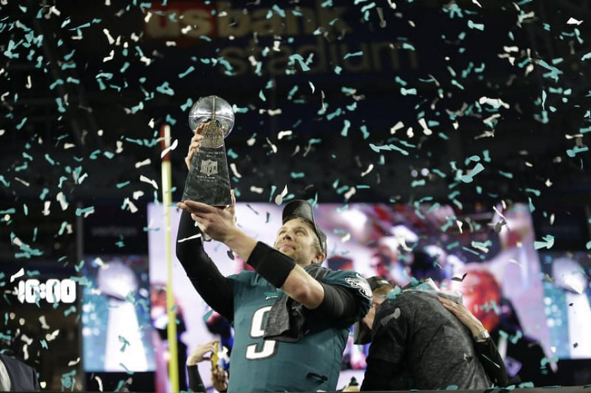 Philadelphia Eagles quarterback Nick Foles with the Vince Lombardi Trophy after winning Super Bowl LII against the New England Patriots at US Bank Stadium in Minneapolis.