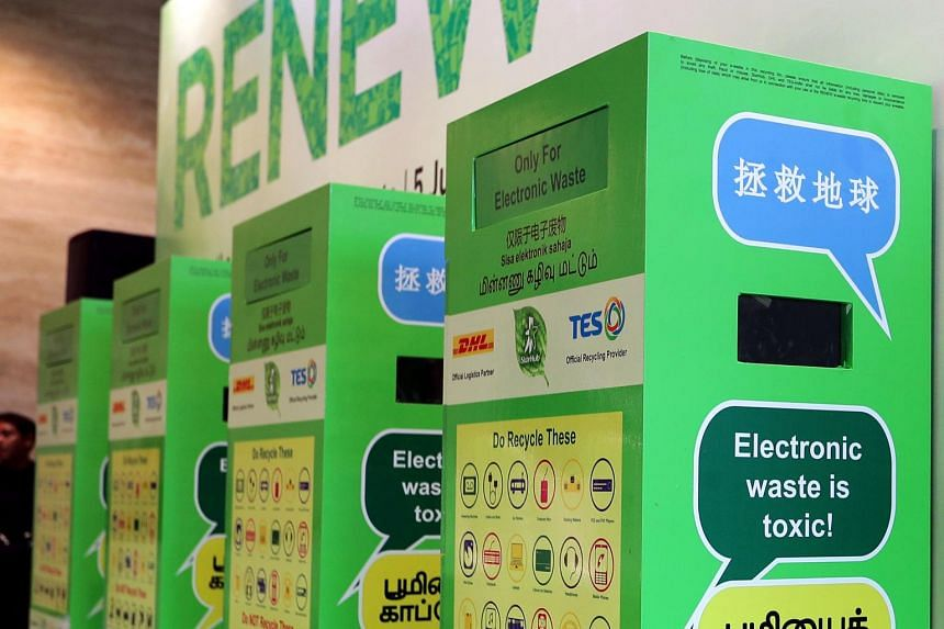 E-waste collection bins will be placed in Best Denki, Courts, Gain City and Harvey Norman outlets.