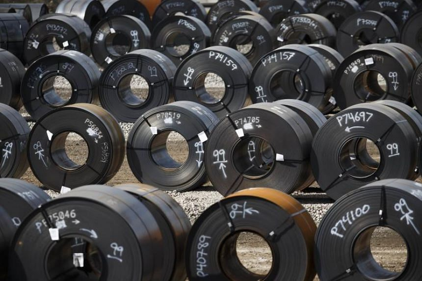 Steel coils lay in a yard at ArcelorMittal Dofasco steel plant on June 4, 2018 in Hamilton, Canada.