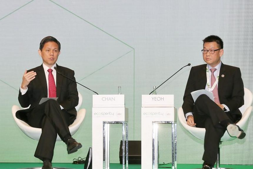 Minister for Trade and Industry Mr Chan Chun Sing (left) told the Temasek Ecosperity Conference that there are physical and non-physical dimensions to sustainability.