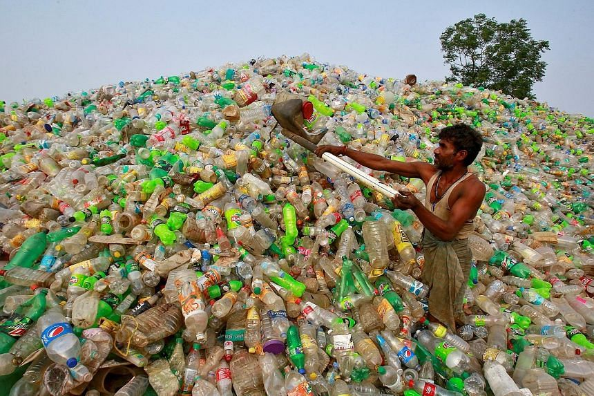 """A worker at a plastic bottle junkyard in India. World Environment Day yesterday highlighted the perils of plastic use with the tagline """"if you can't reuse it, refuse it"""". A woman gathering shells in a coastal forest littered with plastic waste stuck"""
