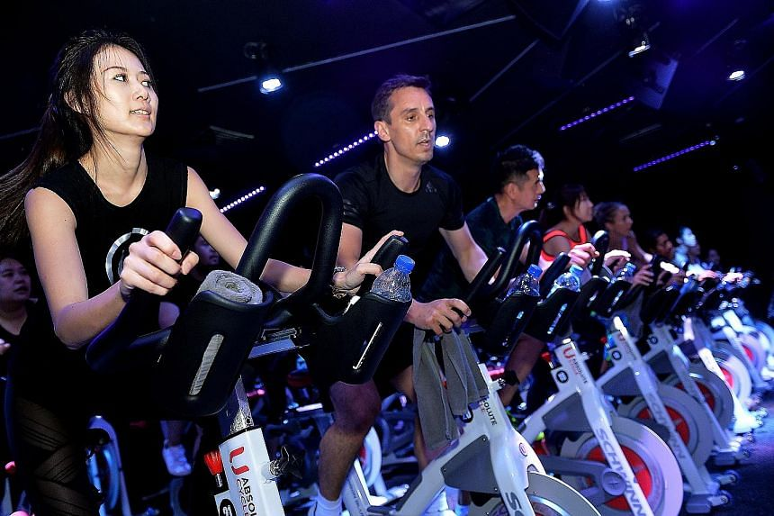 Former England and Manchester United defender Gary Neville at a rhythm cycling session at Absolute Cycle yesterday. In his opinion, England's prospects in Russia will depend largely on Jordan Pickford and Harry Kane.