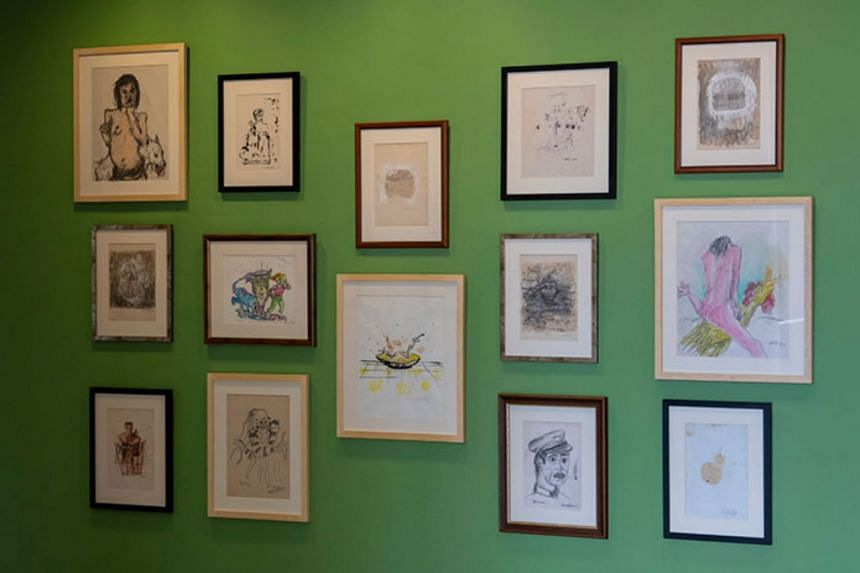 The drawing by Vincent Leow (centre row, far right) has been on display since April 13 on the Community Wall on the third level of the Esplanade.