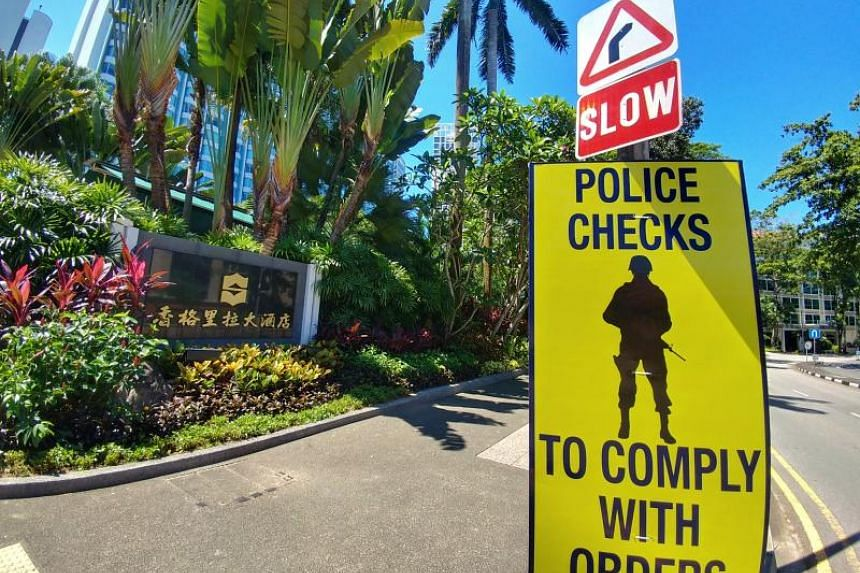 A police sign put up during the recently concluded Shangri-La Dialogue.