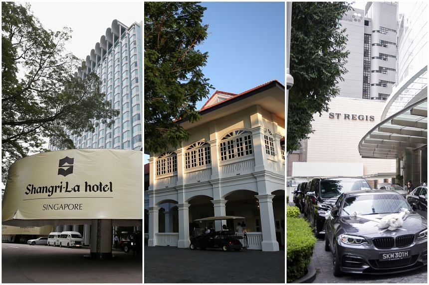 (From left) The Shangri-La Hotel, the Capella Singapore and The St Regis, hotels that will be under the spotlight during the Singapore Summit on June 12.