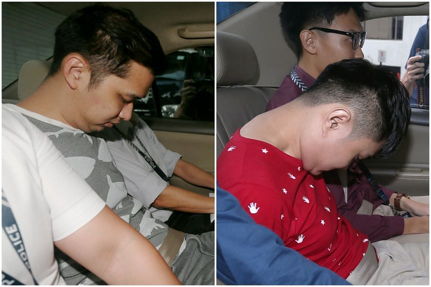 Poon Hong Kuan (right) and Chow Zhi Hong are accused of dishonestly receiving stolen property - $100,000 in cash - from a man.