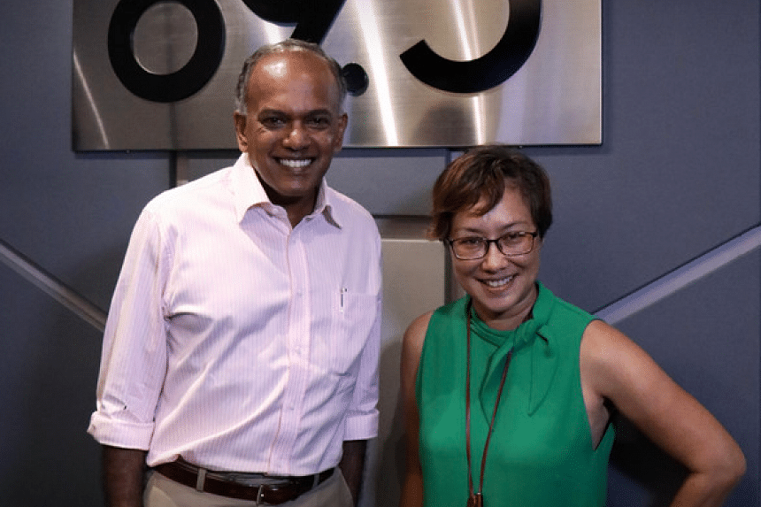 Home Affairs and Law Minister K. Shanmugam (left) stops by for Coffee with Claressa.