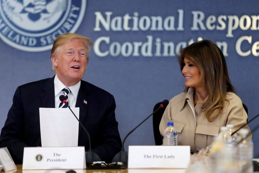 Melania Trump appears with President Donald Trump at a hurricane response briefing in Washington, June 6, 2018.