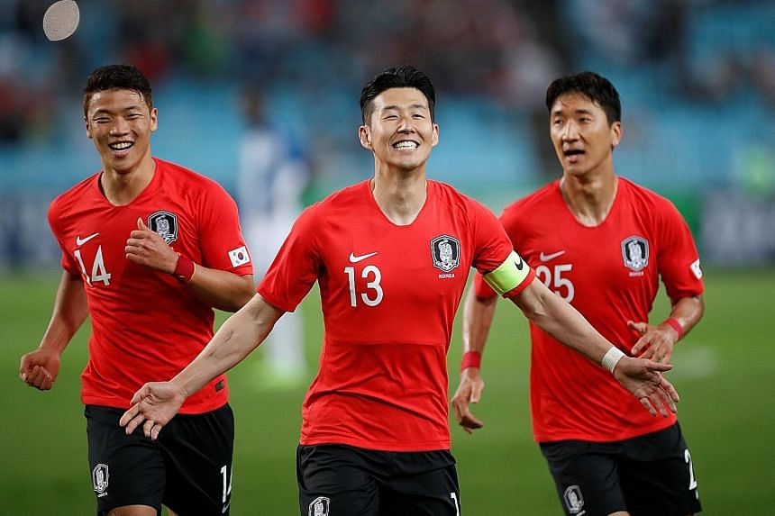South Korea's players had plenty to smile about during the 2-0 win in the friendly against Honduras on May 28. Major Asian stars are few and far between on the world stage, with Tottenham forward Son Heung Min (centre) one of the few recognisable fac