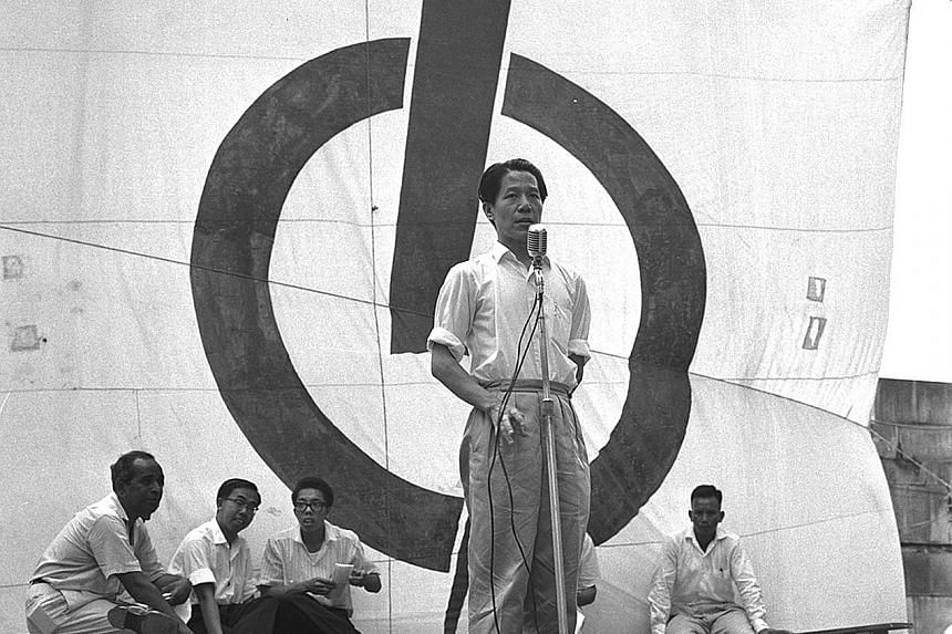 Above: Mr Jek Yeun Thong speaking at a by-election rally at Fullerton Square in 1961. Right (second row, from left): The late Mr Othman Wok, Mr Jek and Mr Ong Pang Boon at the 2015 National Day Parade.