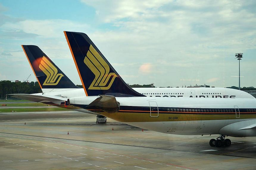 Singapore Airlines planes at Changi Airport Terminal 3, on May 14, 2018.