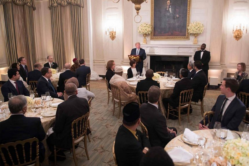 US President Donald Trump speaking at an iftar dinner hosted at the White House in Washington, DC, on June 6, 2018.