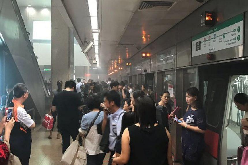 Smoke seen at Tanjong Pagar MRT station on at 9.45am on June 7, 2018.